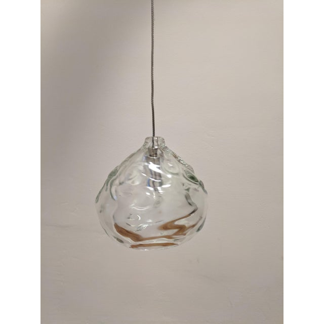 Hand Blown Glass by Siemon & Salazar Clear Happy Pendant Lights For Sale In Los Angeles - Image 6 of 6