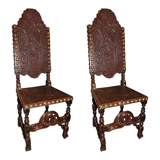 French 19th Century Tooled Leather Louis XIII Style Wooden Chairs - A Pair For Sale