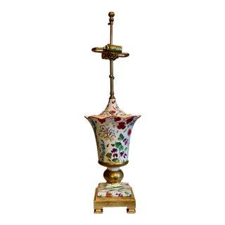 1970s Vintage Frederick Cooper Signed Floral Porcelain Lamp For Sale