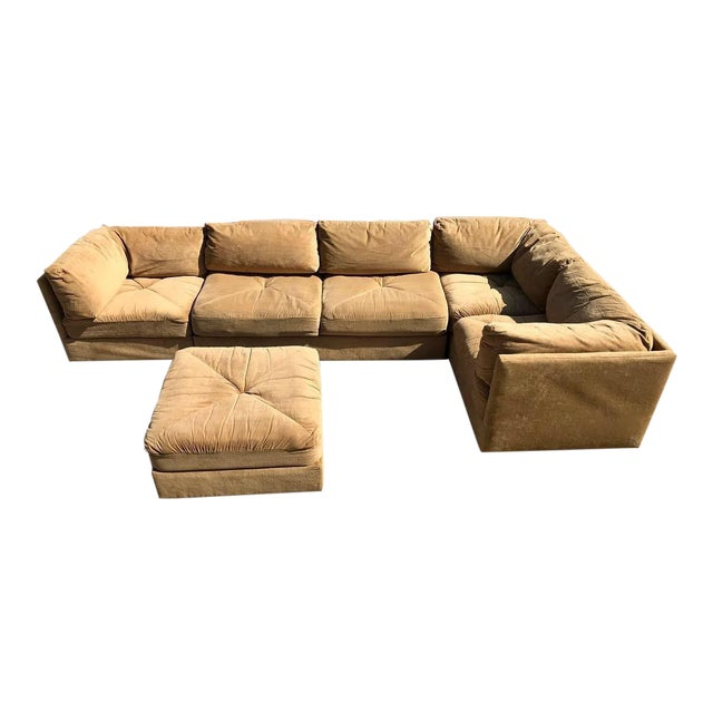 2831729a1482 70 s Vintage 5pc Selig Modular Sectional Sofa Mid Century Modern Baughman  For Sale