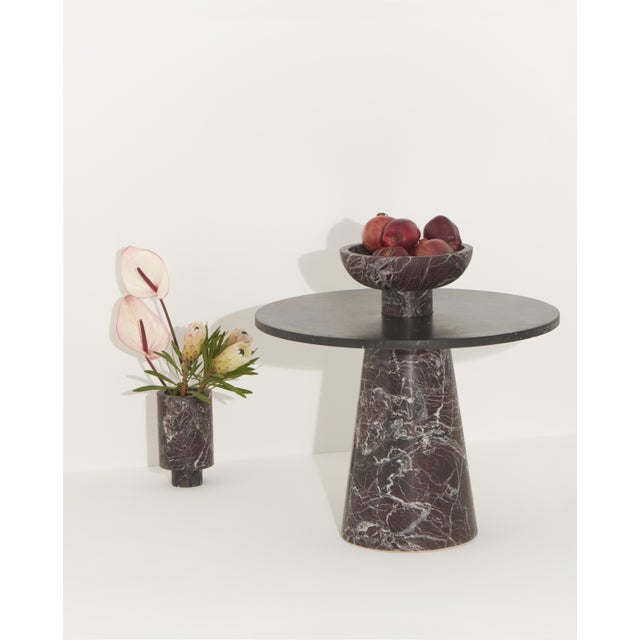Modern Coffee Table With Accessories in Red and Black Marble, by Karen Chekerdjian For Sale - Image 9 of 12