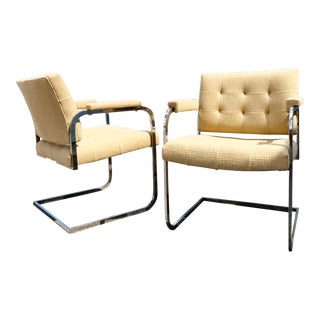 Pair Vintage Modern Chrome Floating Chairs by Patrician For Sale