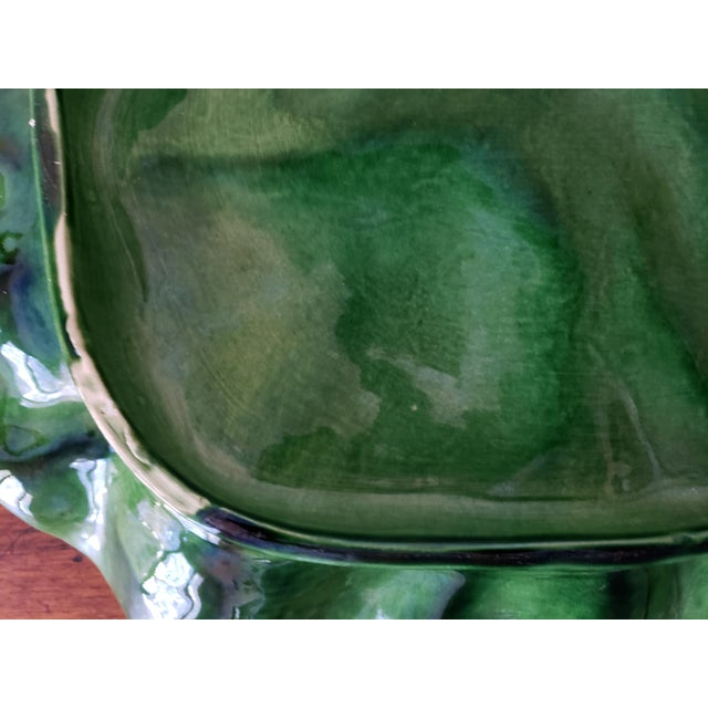 Mediterranean Bordallo Pinheiro Majolica Cabbage Ware Platter For Sale - Image 3 of 8