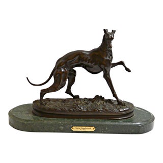 Late 19th Century Greyhound Dog French Bronze Sculpture by Pierre Jules Mene For Sale