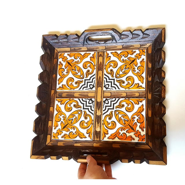 Serving Tray Wood & Tile Hand Carved Wooden Trivet Hot Pad Vintage Kitchen Barware For Sale In Cincinnati - Image 6 of 7