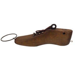 Antique Wooden Shoe Form With Hooks and Laces For Sale