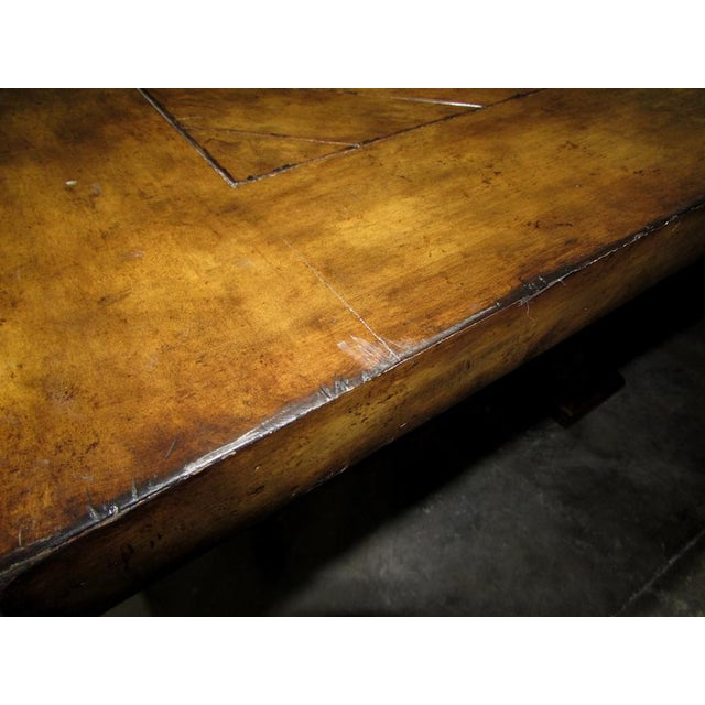 Metal Rustic Matiland Smith Trestle-Base Parquet Top Dining Table For Sale - Image 7 of 13