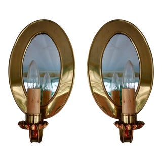 A Pair of Vintage Hand Made Brass Wall Sconces With Shades. For Sale