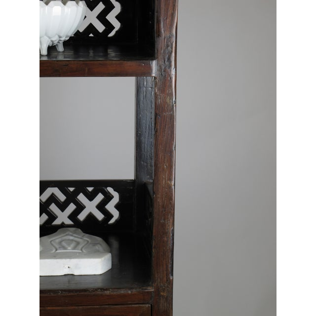 Asian Style Elmwood Book Cabinet For Sale - Image 4 of 8