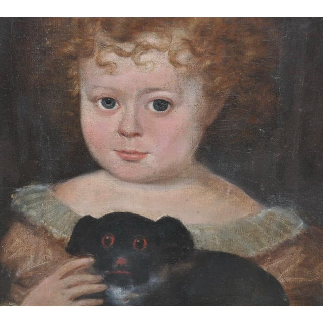 """Charming 19th Century """"Girl With Dog"""" Oil Painting For Sale - Image 4 of 9"""
