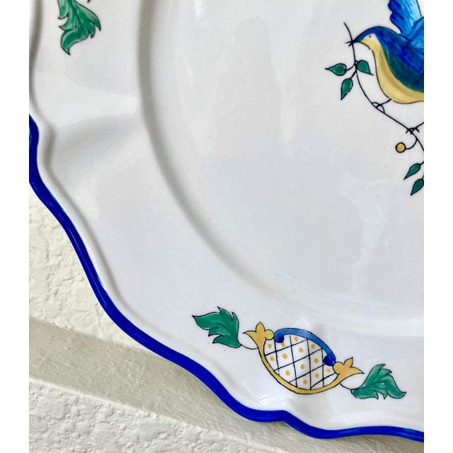 Ceramic 1980s Scalloped Border Hand Painted Bluebird Earthenware Platter Made in the Philippines For Sale - Image 7 of 12