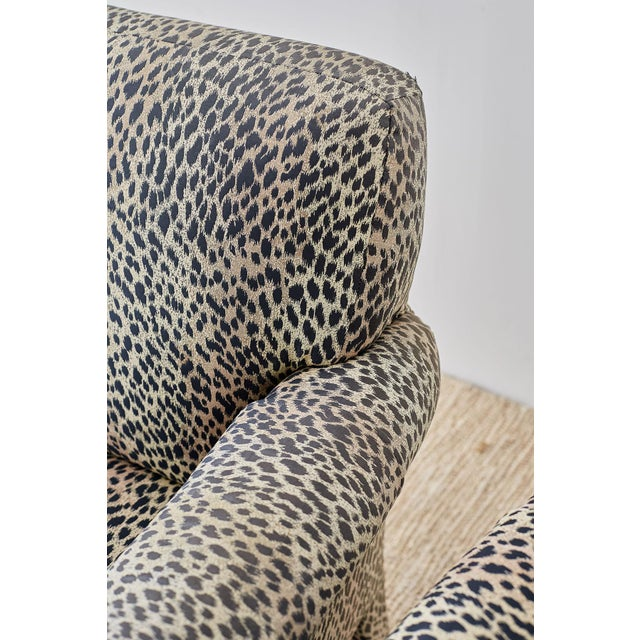 Set of Four Cheetah Leopard Upholstered Club Chairs For Sale - Image 10 of 13