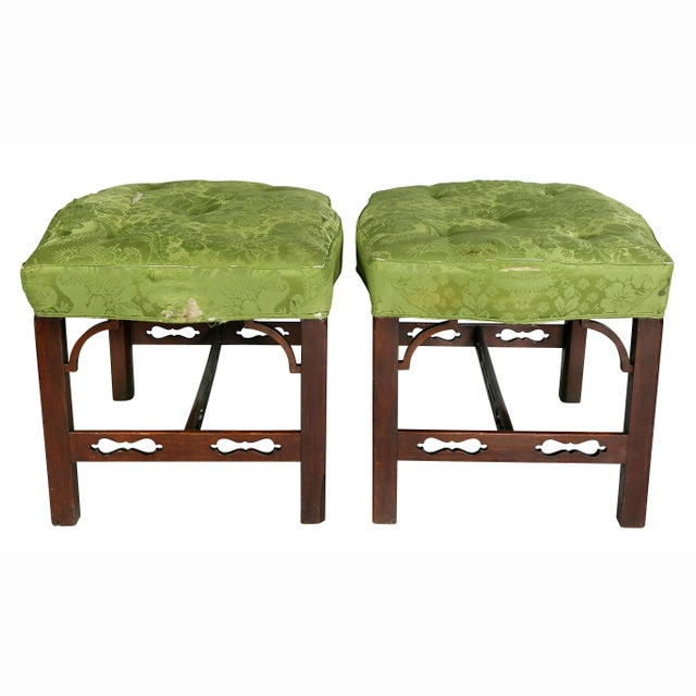 Green Pair of George III Mahogany Footstools For Sale - Image 8 of 13