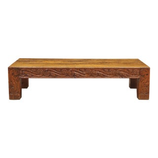 Hand Carved Wood & Stone Top Coffee Table For Sale