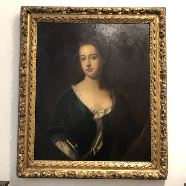 18th Century Portrait of a Noble Woman in Carved Gilt Frame For Sale - Image 13 of 13