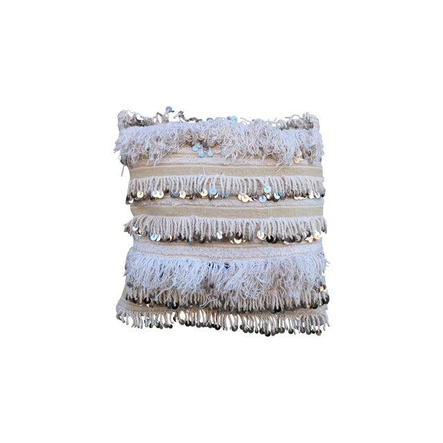 Moroccan Handira Wedding Blanket Throw Pillow - Image 1 of 3