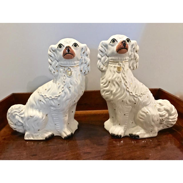 This is a superb pair of Large English Staffordshire Spaniels in the Ivory color way. The Spaniels are in overall very...