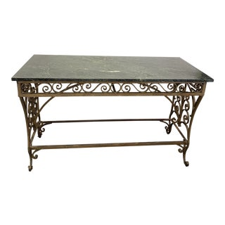 Late 19th Century Italian Renaissance Style Serpentine Marble Top Garden Table For Sale