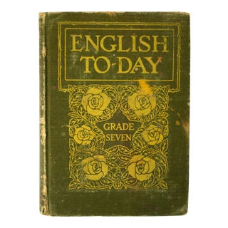 Antique Green and Gold Schoolbook For Sale