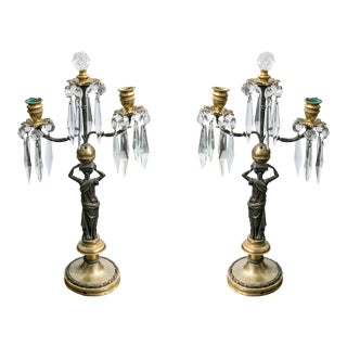 Neoclassical Gilt Bronze With Crystal Candlesticks - a Pair For Sale