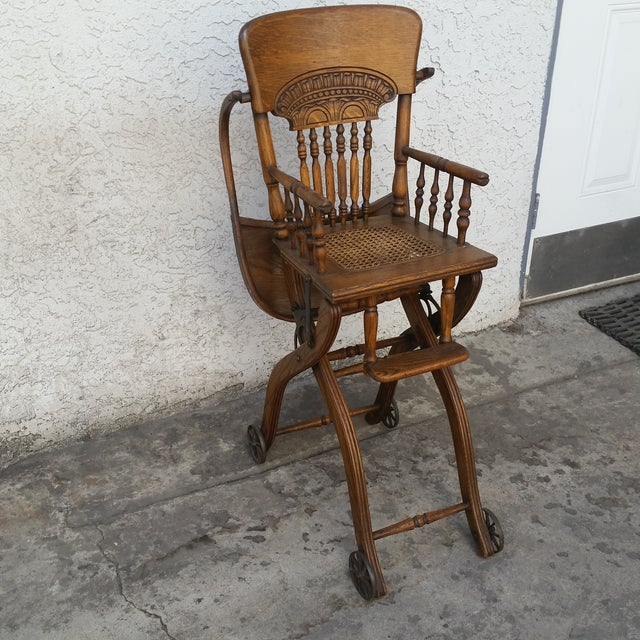 Caning Antique Oak Convertible Pressed Back High Chair Stroller For Sale -  Image 7 of 13 - Antique Oak Convertible Pressed Back High Chair Stroller Chairish