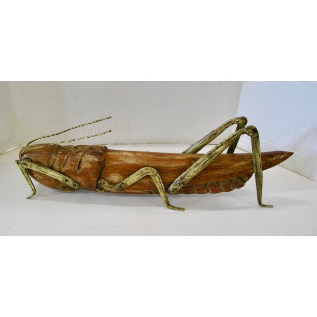 Very unusual and Huge Wood GrassHopper with Gilt Metal Legs. Made is Spain c.1960.