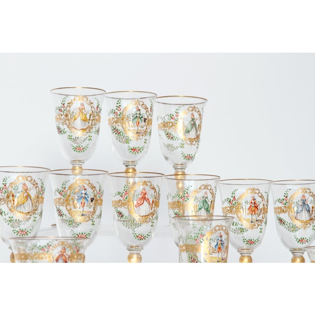 Enameled Venetian Glass Stemware / 23 Piece Group For Sale - Image 4 of 12