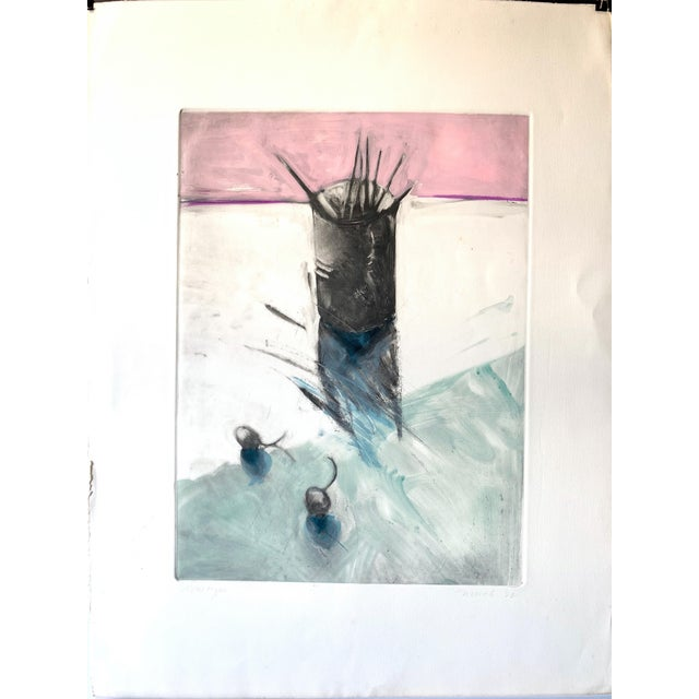 """1980s 1982 Monotype """"Cup of Brushes"""" Bay Area Female Artist For Sale - Image 5 of 5"""