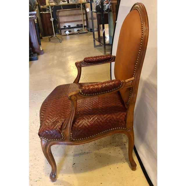 Brown Brown Suede and Tweed Leather Bergère Arm or Office Desk Chair Brunschwig & Fils For Sale - Image 8 of 11