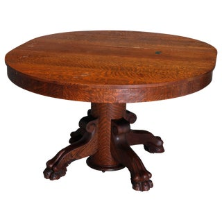 Antique Victorian r.j. Horner Carved Oak Split Pedestal Dining Table With Paw Feet For Sale