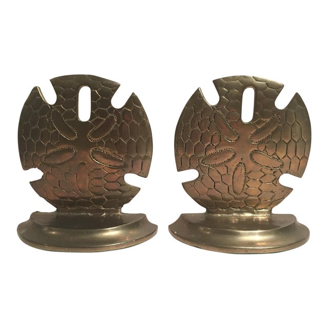 Vintage Solid Brass Dollar Shell Bookends - A Pair For Sale