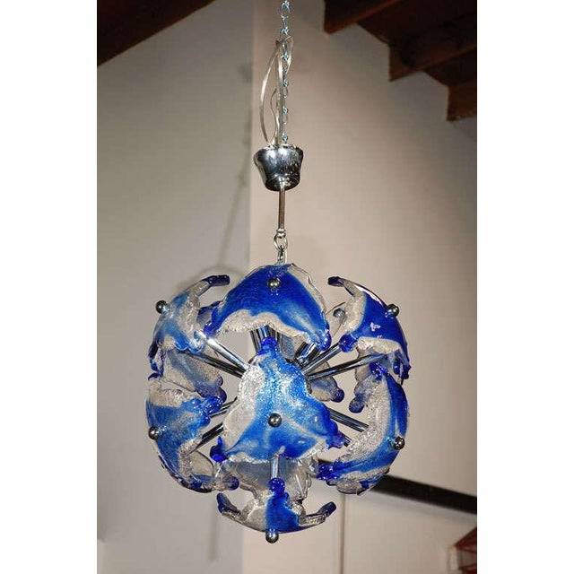 A very attractive art glass chandelier thought to be Italian or German circa 1950's/60's Italy/Germany: Circa 1950's/60's...