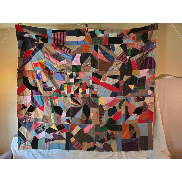 Antique American Crazy Quilt, Patchwork of Geometric Colors For Sale - Image 11 of 11