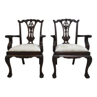 1990s Vintage Chippendale Ball Claw Dining Room Arm Chairs- A Pair For Sale