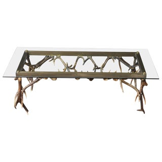 Antler and Brass Coffee Table Attributed to Anthony Redmile, Circa 1970s For Sale