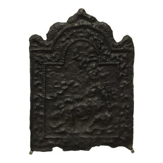 Antique Cast Iron Fireback For Sale