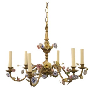 1920s French Louis XVI Six Arm Floral Chandelier With Porcelain Flowers