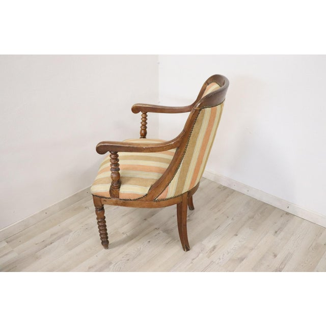 19th Century Italian Empire Walnut Armchair, Legs in Turned Walnut For Sale - Image 6 of 10