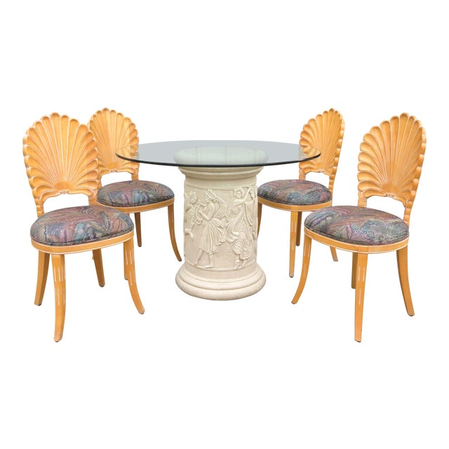 20th Century Vintage Italian Grotto Dining Table - 5 Pieces For Sale