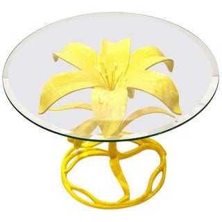 1970s Hollywood Regency Arthur Court Petite Lily Cocktail Table Base in Yellow For Sale
