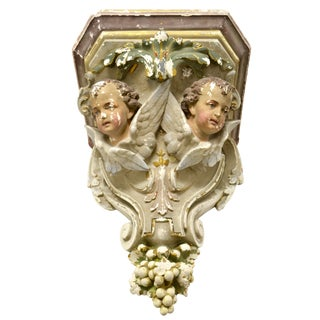20th Century Plaster French Angel Corbel Bracket For Sale