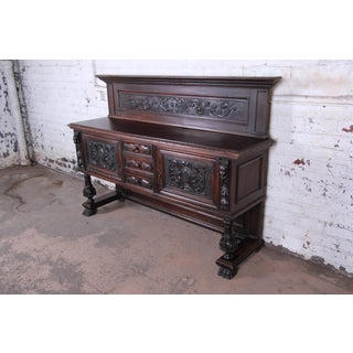 Antique French Ornate Carved Black Forest Sideboard or Bar Cabinet, Circa 1890 Preview