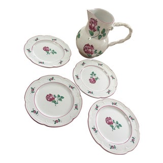 20th Century CottageTiffany & Co Strasbourg Flowers Pitcher and Plates Set - 5 Pieces