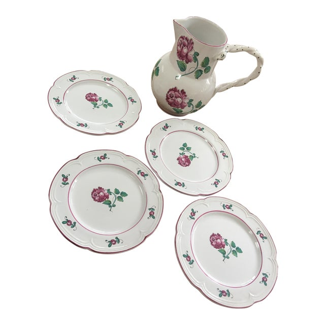 Vintage Tiffany & Co Strasbourg Flowers Pitcher and Plates Set - 5 Pieces For Sale