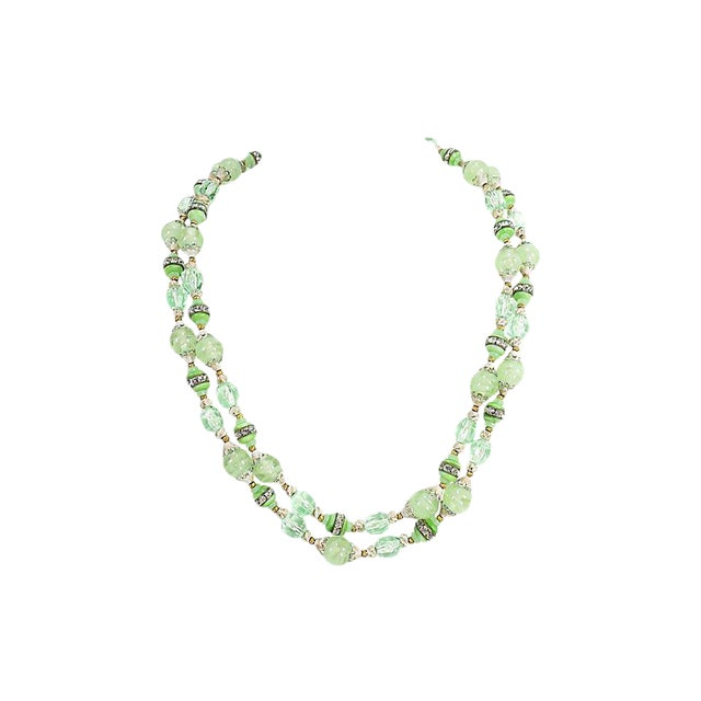 Green Art Glass & Crystal Necklace, 1950s For Sale