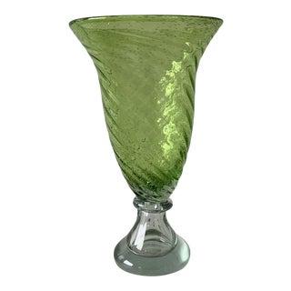 Vintage Green Murano Glass Vase For Sale