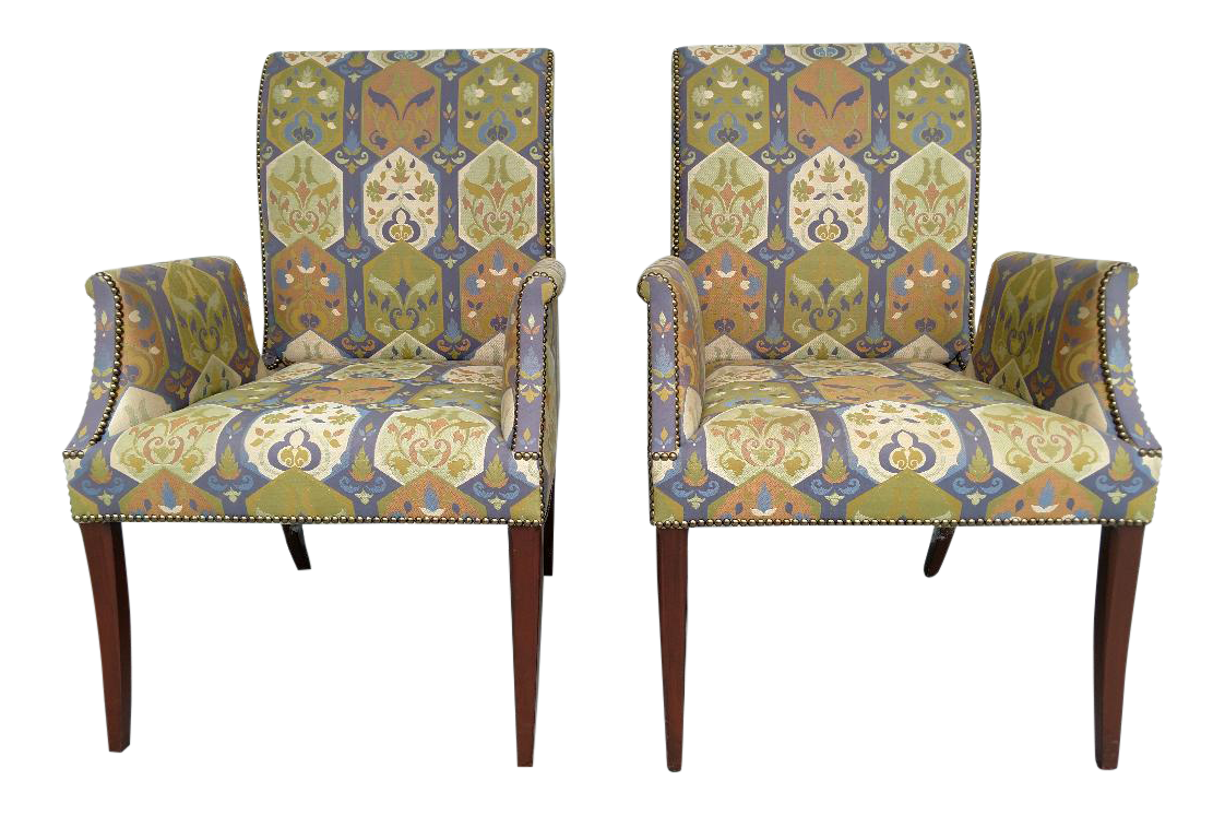 Bon Tommi Parzinger Styled Vintage Armchairs, By Initials Furniture   A Pair  For Sale