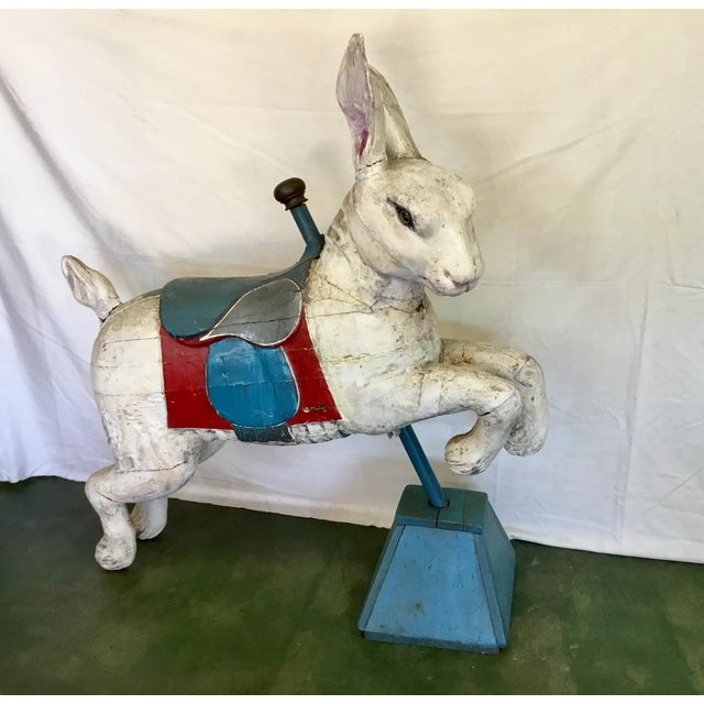 19th Century Rare French Carved Juvenile Carousel Rabbit For Sale - Image 4 of 13