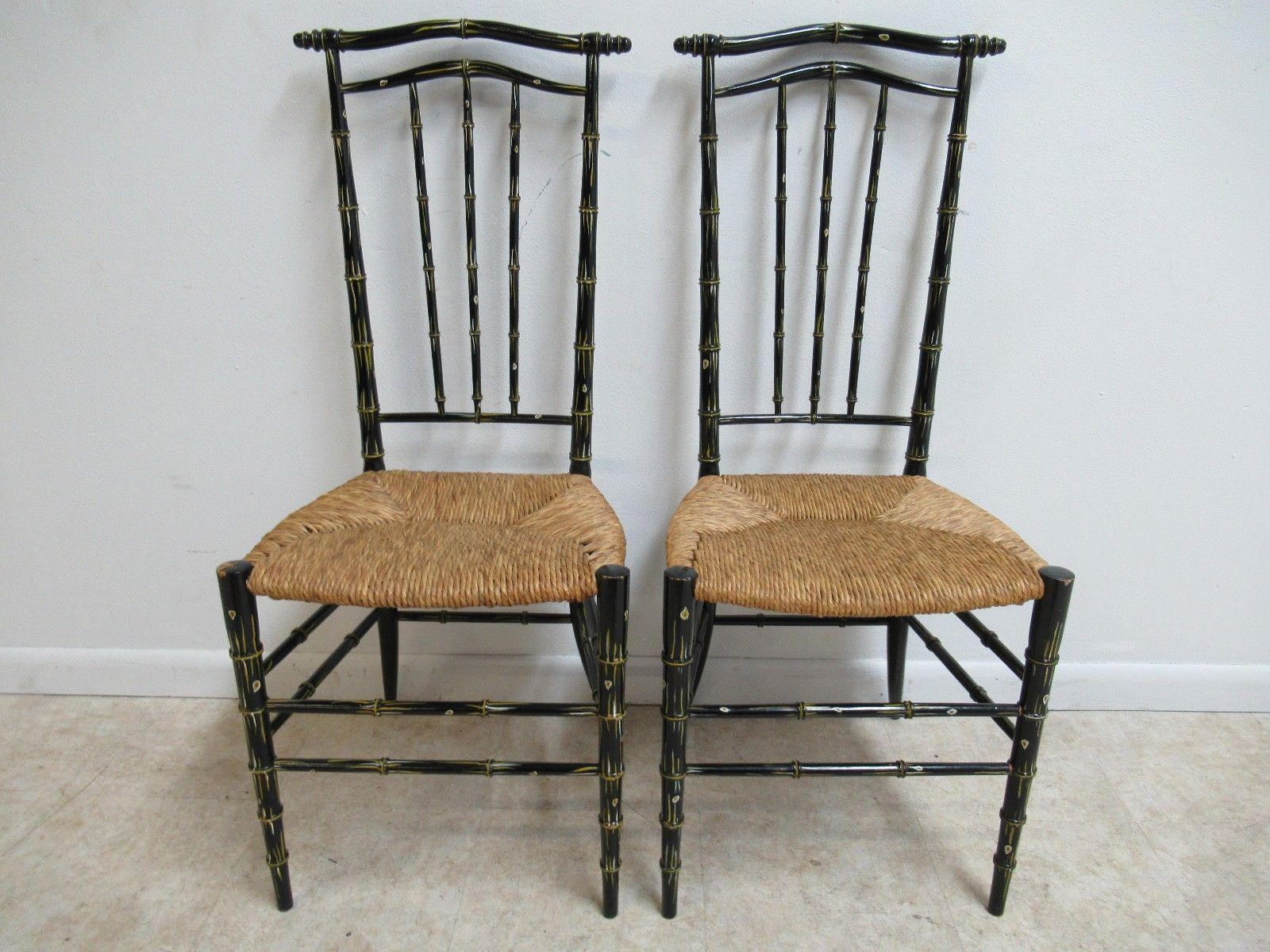 Vintage Faux Painted Bamboo Rush Seat Side Chair   A Pair   Image 2 Of 10