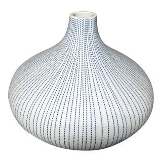 Mid-Century Modern Blue and White Pierced Onion Vase For Sale